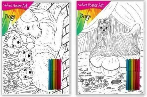 Velvet Felt Poster Art Picture Colouring  with 6 Felt Pens - DOGS